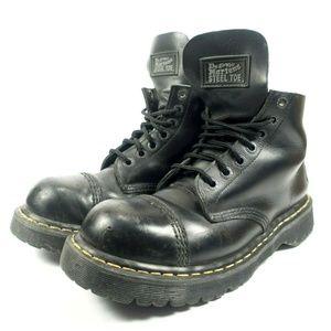Dr Martens Steel Cap Toe Black Leather Boots